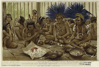 Bororo - Funeral banquet of Bororo Indians in engraving by Friedrich Wilhelm Kuhnert(1865–1926)