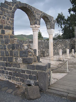 Kursi, Golan Heights - At the church entrance looking toward the northern aisle with its re-erected columns.