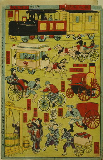 Sustainable transport - An 1889 Japanese print shows various forms of transportation