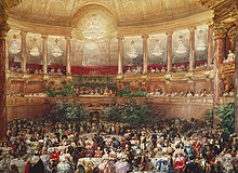 Il ballo di corte al teatro di Versailles in onore della regina Vittoria, al quale partecipò anche il tredicenne Edoardo nel 1855.