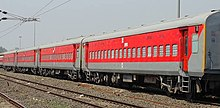 Red-and-silver passenger train