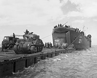 LST-21 unloads tanks during Normandy Invasion, June 1944 (26-G-2370).jpg