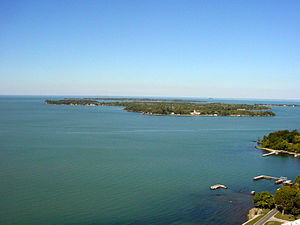 Put-in-Bay Township, Ottawa County, Ohio - Middle Bass Island, seen from Perry's Victory Monument on South Bass Island