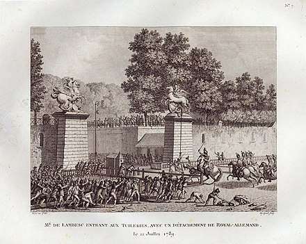 Charles Eugene leading the Allemand Dragoons against the mob, 12 July 1789, Musee de la Revolution francaise. Lambesc entrant aux Tuileries.jpg
