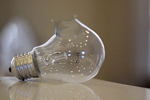 Microwave Oven Light Bulb: Light bulb shattered in a microwave oven.,Lighting