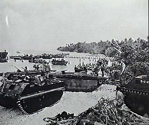 Landing on Emirau - Supplies and equipment being brought ashore from landing craft to support the US Marine landing force. LVTs ferrying supplies ashore in the distance while a chain of men stretches from a landing craft to the shore to manhandle supplies to the beach.