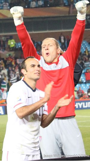 Brad Guzan - Guzan (right) with the United States national team at the 2010 FIFA World Cup.