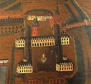 Saxe-Lauenburg - Lauenburg Castle in Lauenburg upon Elbe by the end of the 16th century, till its destruction in 1616 seat of the Lauenburg Younger Line.