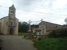 The church and cross in Le Plagnal