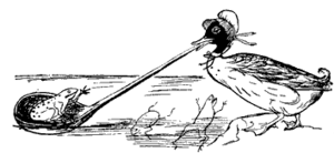 Runcible - One of Edward Lear's drawings depicts the dolomphious duck's use of a runcible spoon.