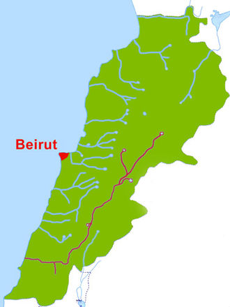 Litani River - The Litani River in purple, the Lebanese capital city Beirut in red