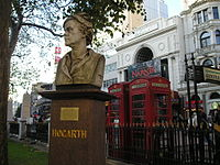 Bust of Hogarth, Leicester Square, London.