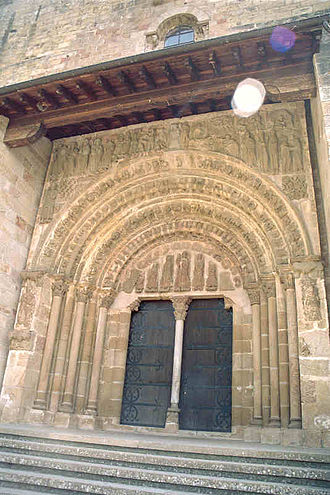 Monastery of Leyre - Porta Speciosa with a depiction of Nunio and Alodio, whose relics were once revered there (11th century).