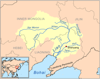 Hun River (Liao River tributary) - Location of the Hun River in China in the Liao watershed