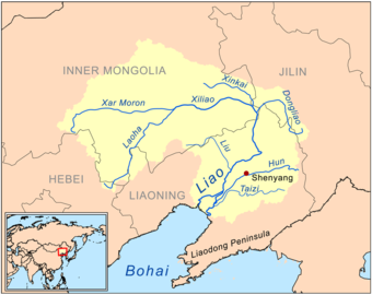 The Liao River is a much simpler example of a river basin with tributaries. The main tributaries noted on this map are the Hun River, Taizi River, Dongliao River, Xinkai River, Xiliao River, Xar Moron River and the Laoha River. The Xiliao River has the tributaries on the map the Xar Moron and Laoha Rivers.