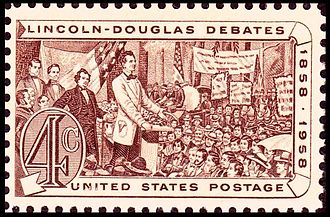 Presidents of the United States on U.S. postage stamps - Lincoln Douglas debates of 1858, Issue of 1958