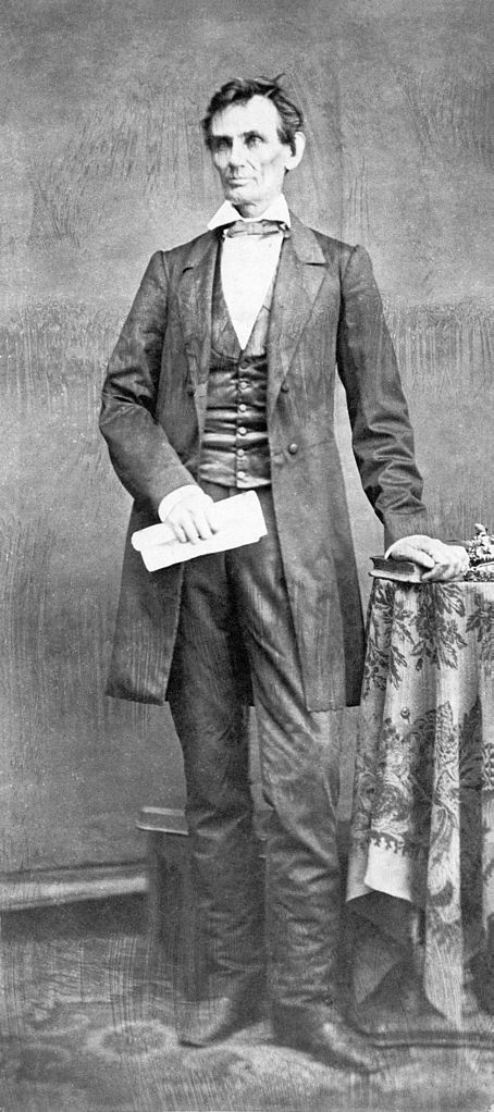 Full-length photograph of Abraham Lincoln from 1860, author unknown