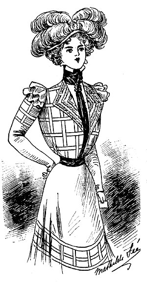 1890s in Western fashion - Charvet dress (1898) with shirtwaist and chemisette.