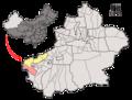 Location of Akto within Xinjiang (China).png