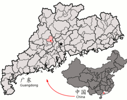 Location of Sihui City (pink) in Zhaoqing City (yellow), Guangdong, and the PRC