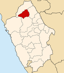 The district of La Pampa is located in the south of the province of Corongo (marked in red)