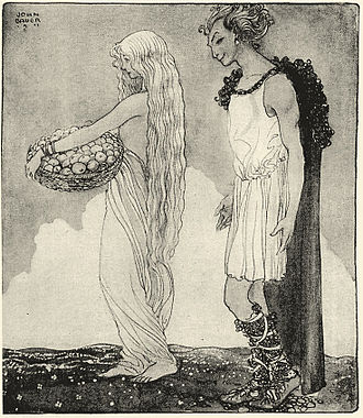 Iðunn - Loki and Idun (1911) by John Bauer