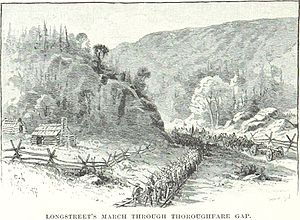 Battle of Thoroughfare Gap - Longstreet's troops march through the Gap