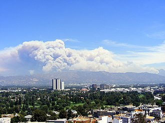 2009 California wildfires - Picture of Los Angeles fires in August 2009. Photo was taken from Universal Studios Hollywood.