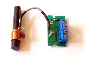 LC circuit - LC circuit (left) consisting of ferrite coil and capacitor used as a tuned circuit in the receiver for a radio clock
