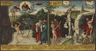 Lutheran art - Law and Gospel, by Lutheran painter Lucas Cranach the Elder and Lucas Cranach the Younger (1536).