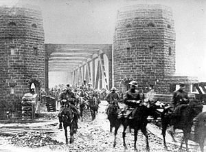 Battle of Remagen - American troops cross the Ludendorff Bridge on 13 December 1918.