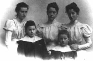 Ludwig Wittgenstein - Ludwig (bottom-right), Paul, and their sisters, late 1890s