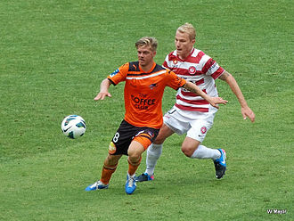 Luke Brattan - Brattan (left) and Aaron Mooy in an A-League match in 2013