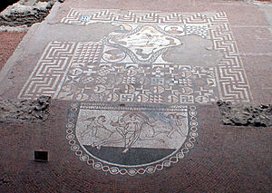 Lullingstone Roman Villa - The mosaic at Lullingstone Villa depicting the Rape of Europa