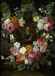 Personification of Time in a flower garland.