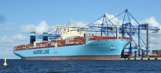 Maersk ship. Photo taken by Salows and uploaded to Wikipedia Commons.