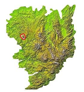 Localisation du massif des Monédièressur la carte du Massif central