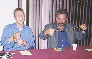 Michael J. Nelson - Nelson (left) and Mystery Science Theater 3000 co-star Kevin Murphy at a convention panel in Metairie, Louisiana, November 1998.