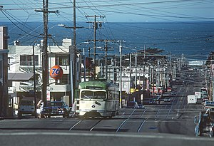 Taraval and 28th Avenue station - An inbound streetcar stopped at 28th Avenue in 1980