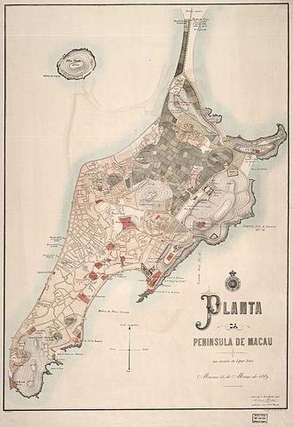 Geography of Macau - Macau Peninsula and Ilha Verde in 1889