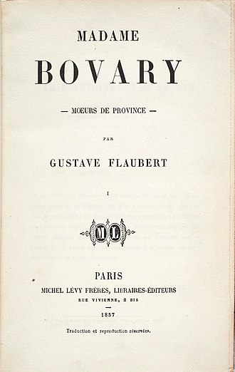 Madame Bovary - Title page of the original French edition, 1857