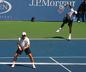 Mahesh Bhupathi - Bhupathi serves in his third-round match partnering Mark Knowles during the 2008 US Open.
