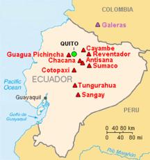Map showing volcanoes in Ecuador
