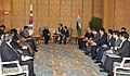 Manmohan Singh at a bilateral meeting with the President of the Republic of South Korea, Mr. Lee Myung-bak, on the sidelines of the 17th ASEAN Summit and Related Summits to be held in Hanoi, Vietnam on October 29, 2010 (2).jpg