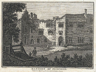 Pencoed Castle - Pencoed in about 1800. Engraving by Richard Colt Hoare