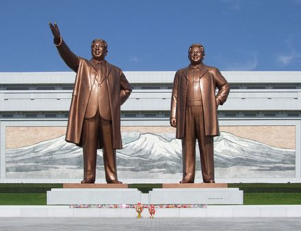 The Mansudae Grand Monuments, depicting large bronze statues of Kim Il-sung and his son Kim Jong-il. Mansudae Grand Monument 08.JPG
