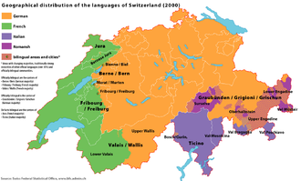Romandy - Language distribution in Switzerland (2000). The Romandy is shown in green.