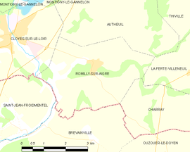 Mapa obce Romilly-sur-Aigre
