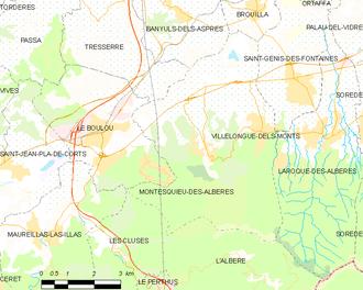 Montesquieu-des-Albères - Map of Montesquieu-des-Albères and its surrounding communes