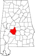Map of Alabama highlighting Dallas County